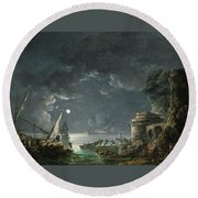 Round Beach Towel featuring the painting View Of A Moonlit Mediterranean Harbor by Carlo Bonavia