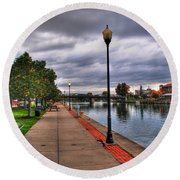 View Of Delaware Bridge At Erie Canal Harbor Round Beach Towel