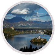 View Of Lake Bled From Ojstrica Round Beach Towel