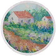Village De Provence Round Beach Towel