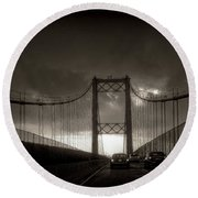 Vincent Thomas Bridge Round Beach Towel by Joseph Hollingsworth