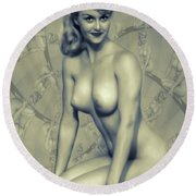 Vintage Pinup By Mb Round Beach Towel