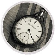 Round Beach Towel featuring the photograph Vintage Pocket Watch by Edward Fielding