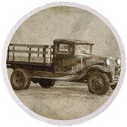 Vintage Truck Round Beach Towel