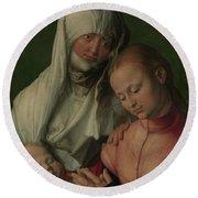 Virgin And Child With Saint Anne Round Beach Towel