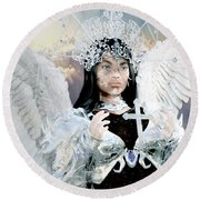 Vitiligo Angel Round Beach Towel by Suzanne Silvir