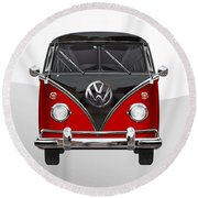 Volkswagen Type 2 - Red And Black Volkswagen T 1 Samba Bus On White  Round Beach Towel