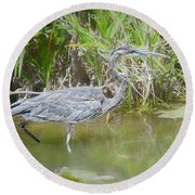 Wading For Food Round Beach Towel