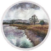 Walden Ponds On An April Evening Round Beach Towel
