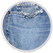 Worn Jeans Round Beach Towel