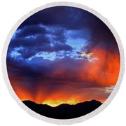 Wasatch Sunrise Round Beach Towel