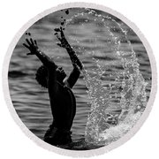 Water And Stones 3 Round Beach Towel
