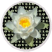 Water Lily Love Round Beach Towel by Jeannette Hunt
