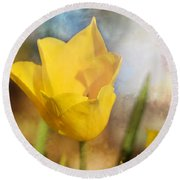 Water Lily Tulip Flower Round Beach Towel