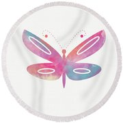 Watercolor Butterfly 2- Art By Linda Woods Round Beach Towel