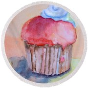 Watercolor Illustration Of Cake  Round Beach Towel