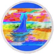 Watercolor Sailing Round Beach Towel by Scott D Van Osdol