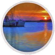 Watercolor Sunset Round Beach Towel