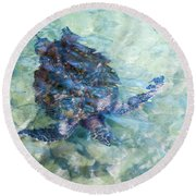 Watercolor Turtle Round Beach Towel by Denise Bird