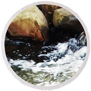 Waterfall Abstract Round Beach Towel