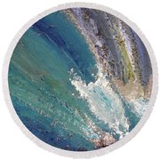 Waterfalls 2 Round Beach Towel by Karen Nicholson