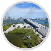 Welcome To Miami Round Beach Towel