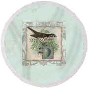 Welcome To Our Nest - Vintage Bird W Egg Round Beach Towel