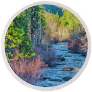 West Fork Rapids Round Beach Towel by Nancy Marie Ricketts