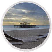 West Pier Brighton Round Beach Towel