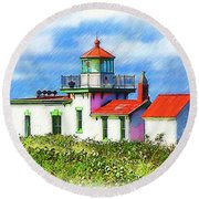 West Point Lighthouse Sketched Round Beach Towel
