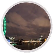 Westminster And The London Eye Round Beach Towel by Dawn OConnor