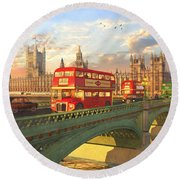 Westminster Bridge Round Beach Towel by Dominic Davison