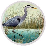 Round Beach Towel featuring the painting Wetland Beauty by James Williamson