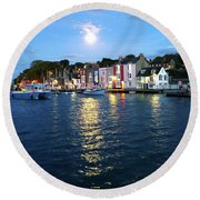 Round Beach Towel featuring the photograph Weymouth Harbour Full Moon by Anne Kotan
