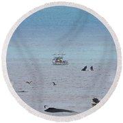 Whales At Sea Round Beach Towel