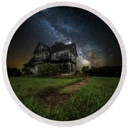 Round Beach Towel featuring the photograph What Once Was by Aaron J Groen