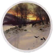 When The West With Evening Glows Round Beach Towel by Joseph Farquharson