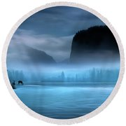 Round Beach Towel featuring the photograph While You Were Sleeping by John Poon