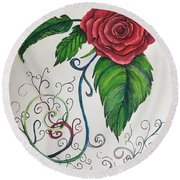Whimsical Red Rose Round Beach Towel