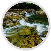 Whitaker Falls In Summer Round Beach Towel