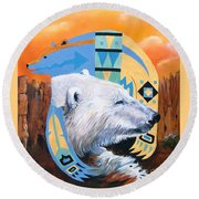 White Bear Goes Southwest Round Beach Towel