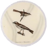 White-browed Sparrow-weaver And Grass Or Bush Warbler Round Beach Towel