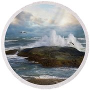 Round Beach Towel featuring the photograph White Caps by Robin-Lee Vieira