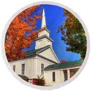 Round Beach Towel featuring the photograph White Church In Autumn by Joann Vitali