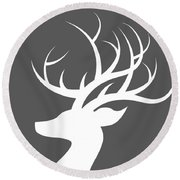 White Deer Silhouette Round Beach Towel by Chastity Hoff
