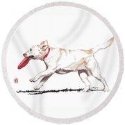 White Frisbee Dog Round Beach Towel