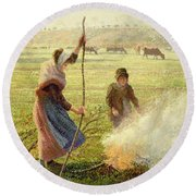 White Frost Round Beach Towel by Camille Pissarro