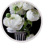 White Ranunculus In Black And White Vase Round Beach Towel
