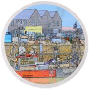 Whitstable Harbour Round Beach Towel