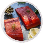 Wild Salmon Steaks Round Beach Towel by Elena Elisseeva